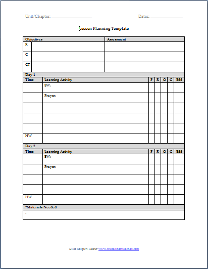 Lesson Planning Templates The Religion Teacher Catholic - High school lesson plan template