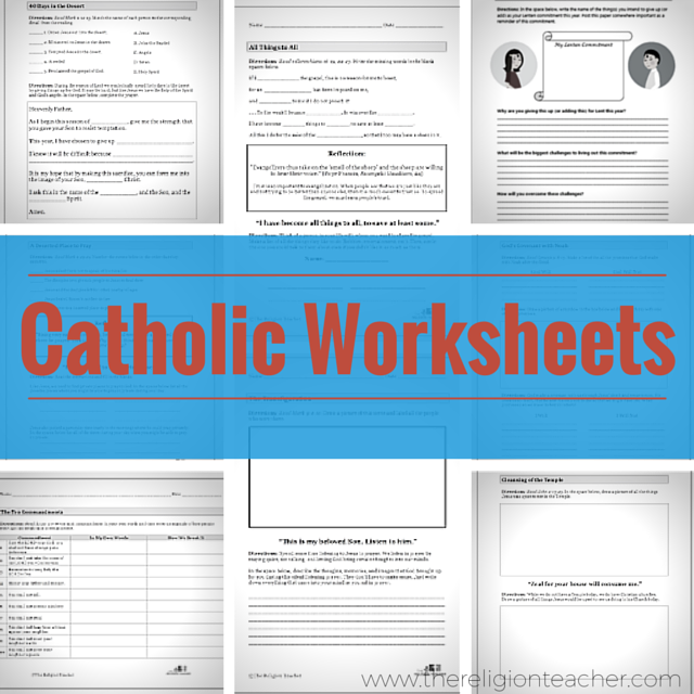 Catholic Worksheets | The Religion Teacher | Catholic Religious ...